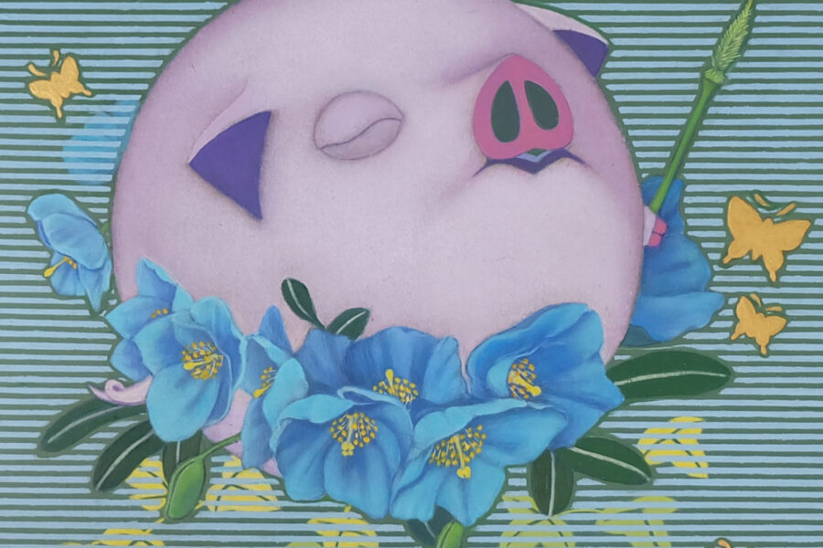 Happy Pig (Blue Poppy)