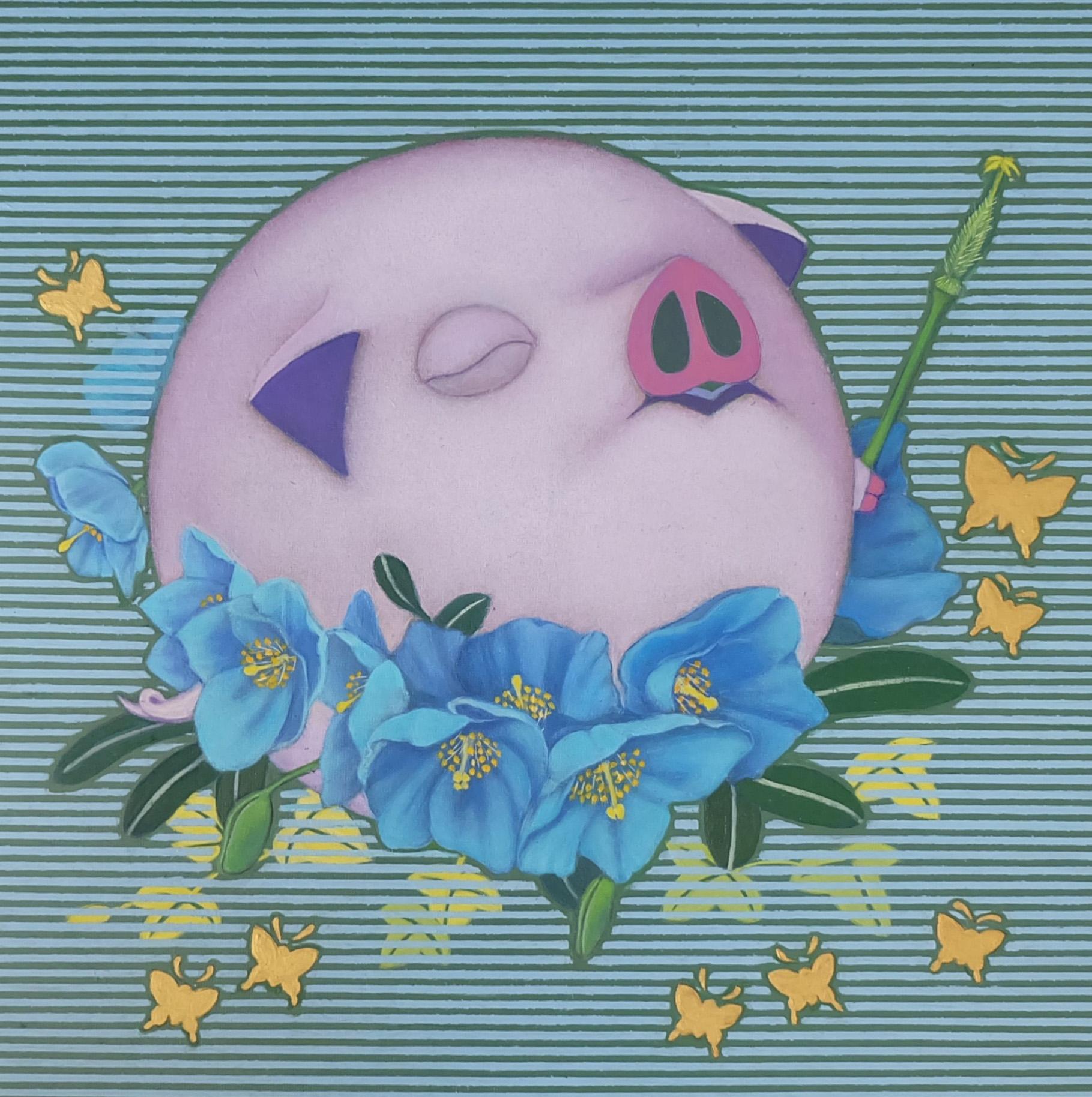 Happy Pig (Blue Poppy)